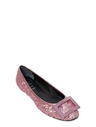 Roger Vivier 10Mm Gommette Leather And Sequin Flats
