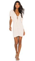 Indah Paris Mini Dress In Cream. Opal Stonewash