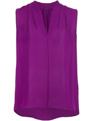 Elie Tahari Sleeveless V Neck Blouse Pink And Purple
