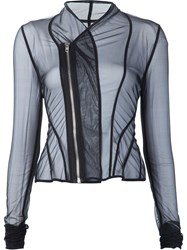 Rick Owens Lilies Sheer Draped 'Princess' Fitted Jacket Black