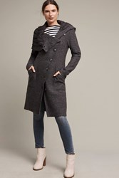 Anthropologie Asymmetrical Wool Sweater Coat Dark Grey