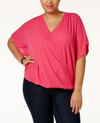 Inc International Concepts Plus Size Dolman Sleeve Surplice Top Only At Macy's Pink Lightening