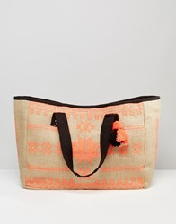 Mango Embroidered Beach Bag Coral Mix Multi