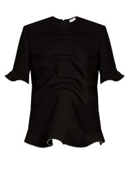 J.W.Anderson Ruffle Trimmed Decorative Zip Cady Top Black