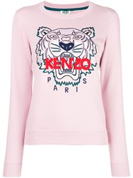 Kenzo Logo Print Jumper Pink And Purple