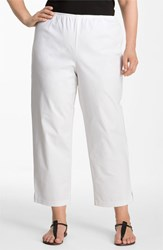 Plus Size Women's Eileen Fisher Stretch Organic Cotton Ankle Pants White