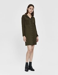 Which We Want Evelina Collared T Shirt Dress In Olive