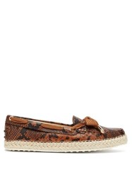 Tod's Python Effect Leather Espadrille Loafers Brown Multi