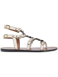 Coach Strappy Flat Sandals White