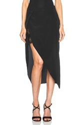 Mason By Michelle Mason Lace Slip Wrap Silk Skirt In Black