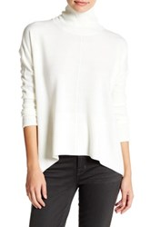 Sweet Romeo Seamed Front Mock Turtleneck Sweater Petite White