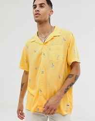 Element Short Sleeve Shirt With All Over Print In Yellow