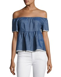 Romeo And Juliet Couture Chambray Off The Shoulder Top Dark Blue
