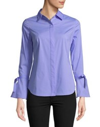 Lord And Taylor Petite Bell Sleeve Button Down Shirt Purple