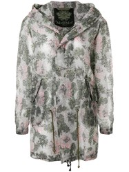 Mr And Mrs Italy Sheer Printed Parka Green