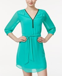 Amy Byer Bcx Juniors' Three Quarter Sleeve Front Zip A Line Dress