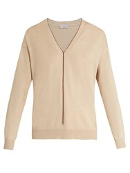 Brunello Cucinelli V Neck Cashmere Sweater Beige