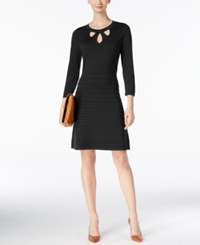 Nine West Cutout Fit And Flare Sweater Dress Black
