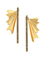 Giles And Brother Ray Burst Pave Crystal Ear Jacket Drop Earrings Set Gold