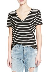 Junior Women's Bp. Stripe Ribbed V Neck Tee