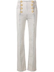 Balmain Button Embellished Striped Trousers Neutrals
