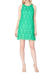 Tahari By Arthur S. Levine Scalloped Lace Shift Dress Island Green