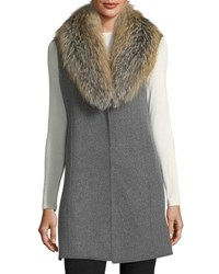 Neiman Marcus Luxury Double Faced Cashmere Vest W Fox Fur Collar Heathergrey Honey