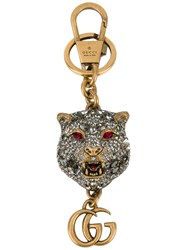 Gucci Crystal Embellished Tiger's Head Keychain Women Crystal Brass Glass One Size Metallic
