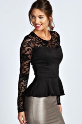 Boohoo Lace Long Sleeve Peplum Top Black