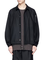 Attachment Brushed Wool Cashmere Coach Jacket Black