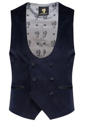 Noose And Monkey Callcott Waistcoat Navy Dark Blue