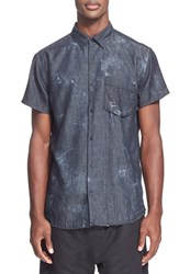 Men's Chapter 'Mor' Trim Fit Washed Short Sleeve Denim Shirt