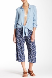 Candc California Tropical Woodbock Print Challis Culotte Pant Blue