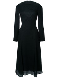 Nina Ricci Open Back Raw Edge Dress Black