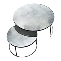 Notre Monde Heavy Aged Mirror Coffee Table Set Round Clear