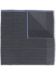Bally Contrast Striped Scarf Grey