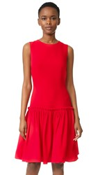 Prabal Gurung Drop Waist Dress Crimson