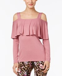 Thalia Sodi Ruffled Cold Shoulder Top Only At Macy's Mesa Rose