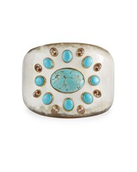 Ashley Pittman Bendi Turquoise And Orange Zircon Tapered Cuff Multi