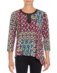 Rafaella Petite Printed Quarter Zip Top