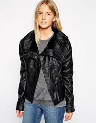 Brave Soul Pu Jacket With Oversized Faux Fur Collar Black