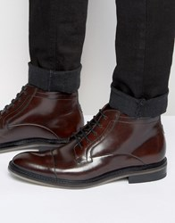 Ted Baker Baise Leather Lace Up Boots Brown