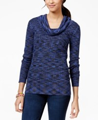 Pink Rose Juniors' Space Dyed Cowl Neck Pullover Sweater Navy Spacedye