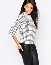 Influence Grid Print Pocket Shell Top White