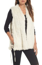 Love Token Women's Genuine Rabbit Fur Vest Ivory