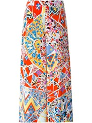 Emilio Pucci Printed Wide Leg Trousers Red