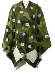 Ermanno Gallamini Embroidered Flower Cape Green