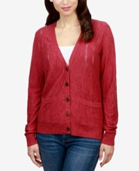 Lucky Brand Pocketed Boyfriend Cardigan Earth Red