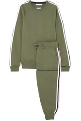 Olivia Von Halle Missy Milan Striped Silk Blend Sweatshirt And Track Pants Set Green