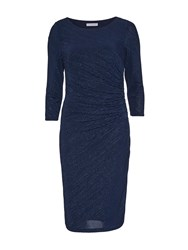 Gina Bacconi 3D Metallic Stripe Knit Dress Navy